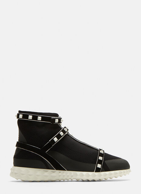 Valentino Rockstud Technical Knit Sneakers