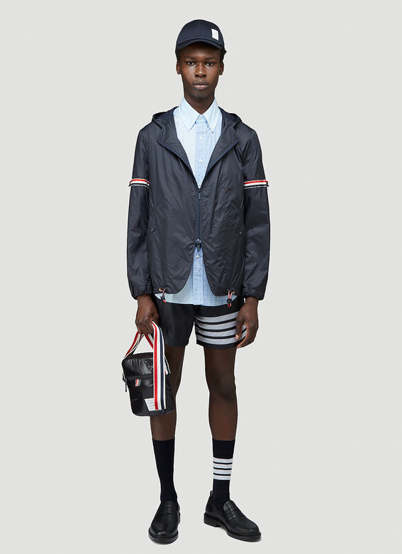 Thom Browne STRAIGHT FIT BUTTON DOWN SHORT SLEEVE SHIRT FUNMIX IN SMALL HAIRLINE CHECK POPLIN 2