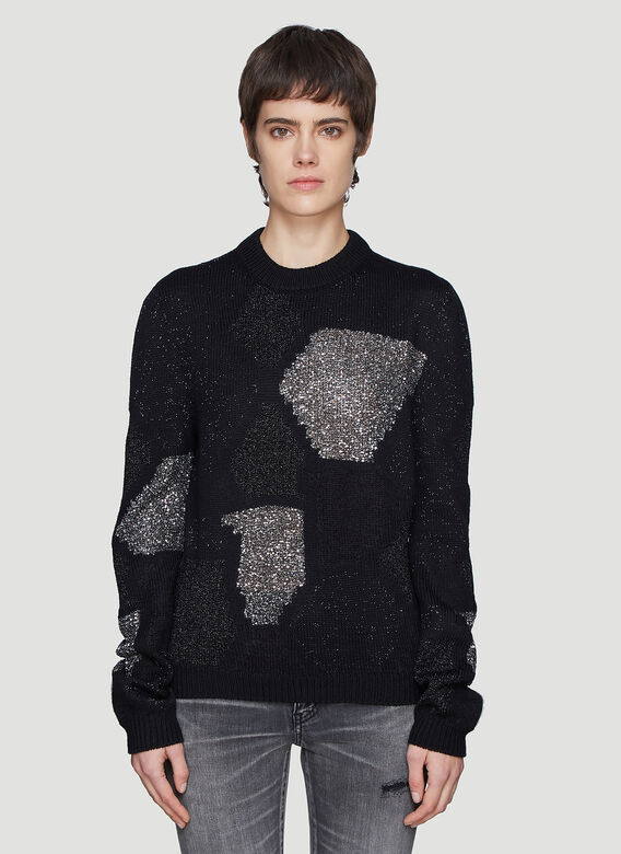 Saint Laurent Abstract Sparkle Knit Sweater