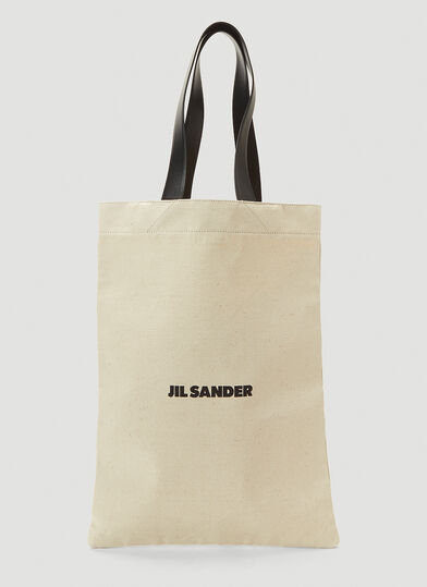 질 샌더 Jil Sander Oversized Flat Canvas Tote Bag in White