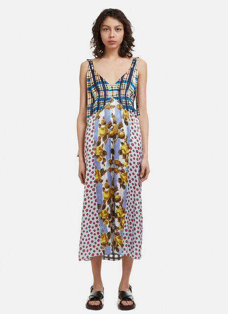 Marni V-Neck Patchwork Cami Dress
