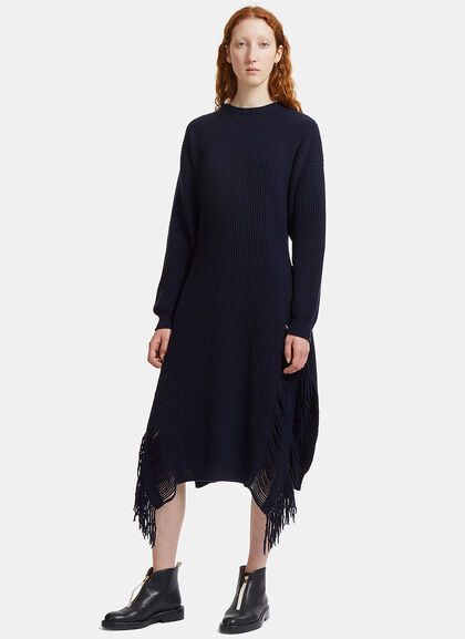 Image of Long Frayed Ribbed Knit Sweater Dress