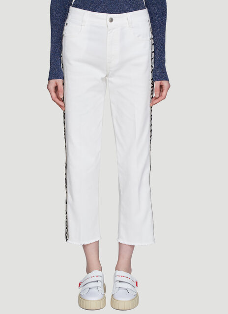 Stella McCartney Cropped Logo Stripe Jeans