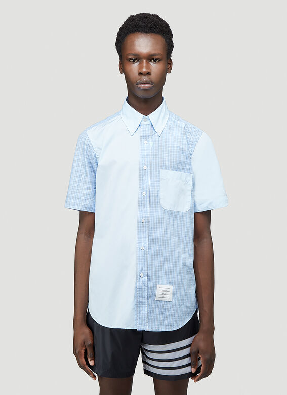 Thom Browne STRAIGHT FIT BUTTON DOWN SHORT SLEEVE SHIRT FUNMIX IN SMALL HAIRLINE CHECK POPLIN 1