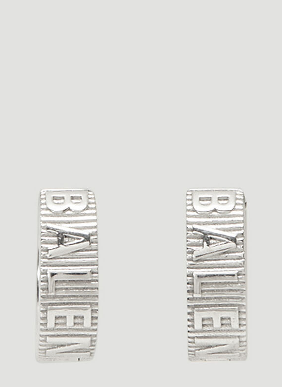 Balenciaga Force Striped Earrings in Silver