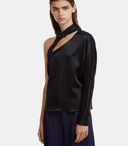 One-Shouldered Necktie Satin Top
