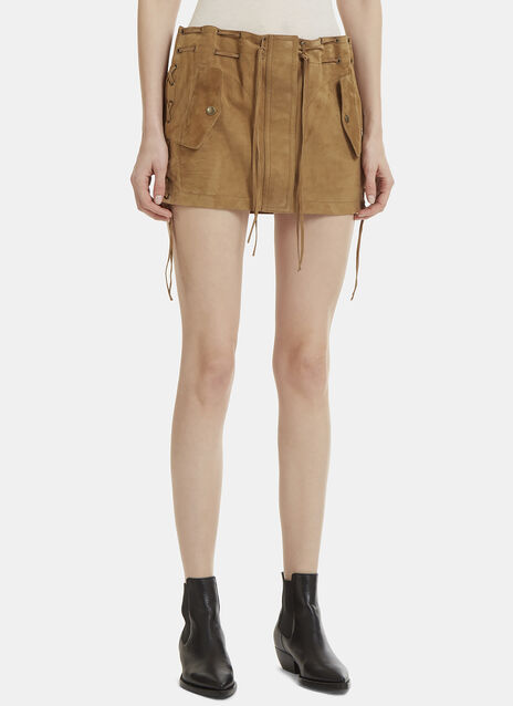 Saint Laurent Lace-Up Suede Mini Skirt