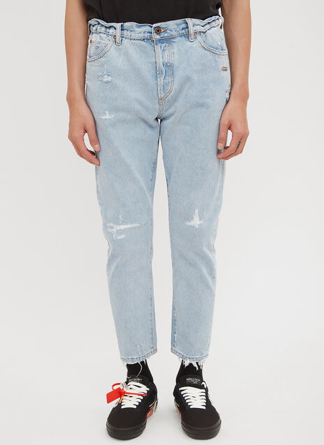 Off-White White Washed Tapered Jeans