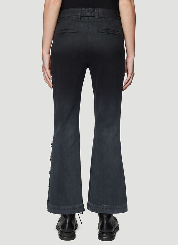 Olivier Theyskens FLARED BOTTOM JEANS WITH HOOK AND EYE DETAIL 4