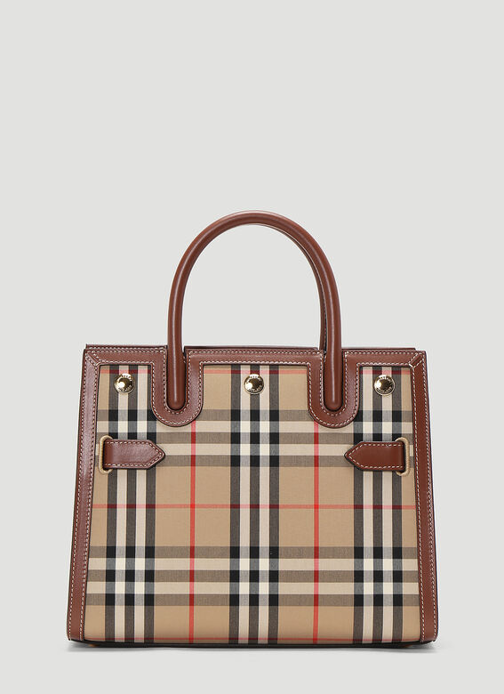 Burberry Title Vintage-Check Mini Tote Bag in Beige