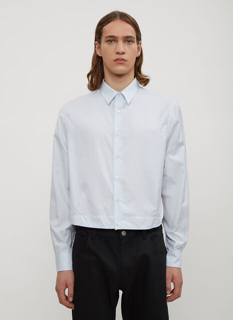 Raf Simons Checked Two Pleat Cropped Shirt