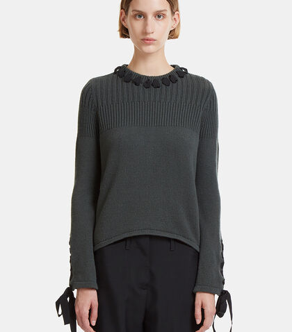 Ribbon Tied Cashmere Knit Sweater