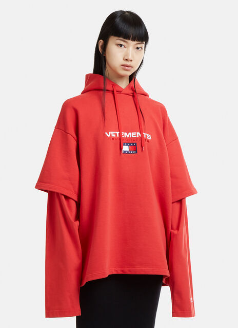 Vetements X Tommy Hilfiger Layered Sleeve Hooded Sweatshirt