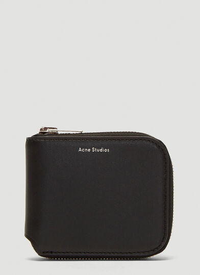 아크네 스튜디오 Acne Studios Compact Zip-Around Wallet in Black