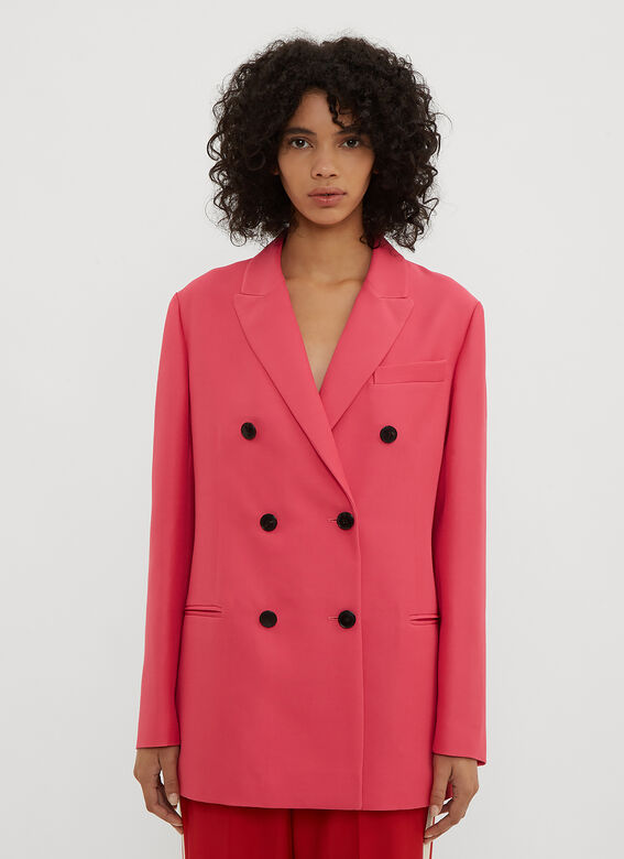 Valentino Coats Double Breasted Blazer in Pink
