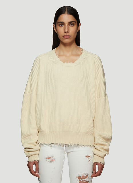 Unravel Project Raw Ribbed Knit Sweater