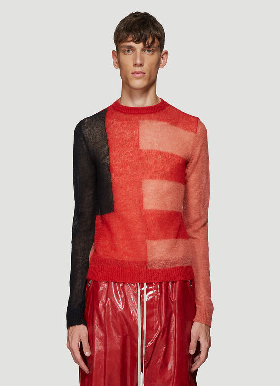Contrast Panel Sweater In Red by Rick Owens