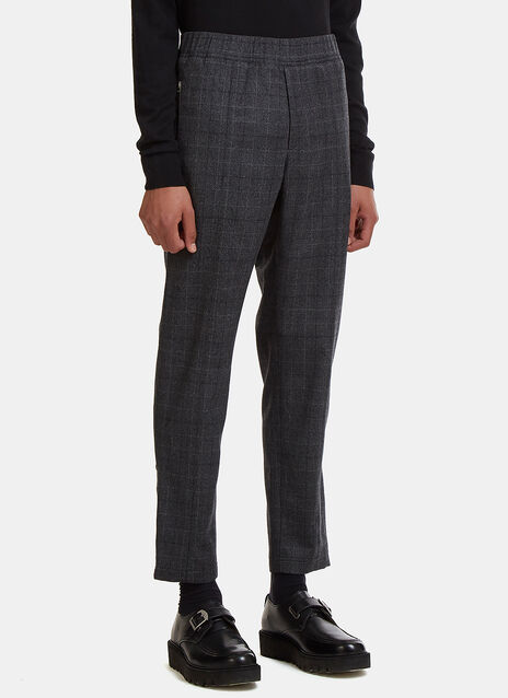 Checked Elasticated Waist Wool Pants
