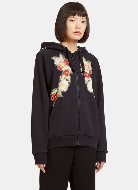 Floral Embroidered Gucci Print Hooded Sweatshirt