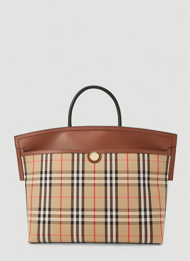 버버리 Burberry Vintage Check Medium Tote Bag in Beige