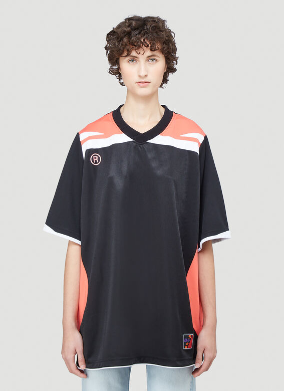 Martine Rose Two-Way Football Top in Black