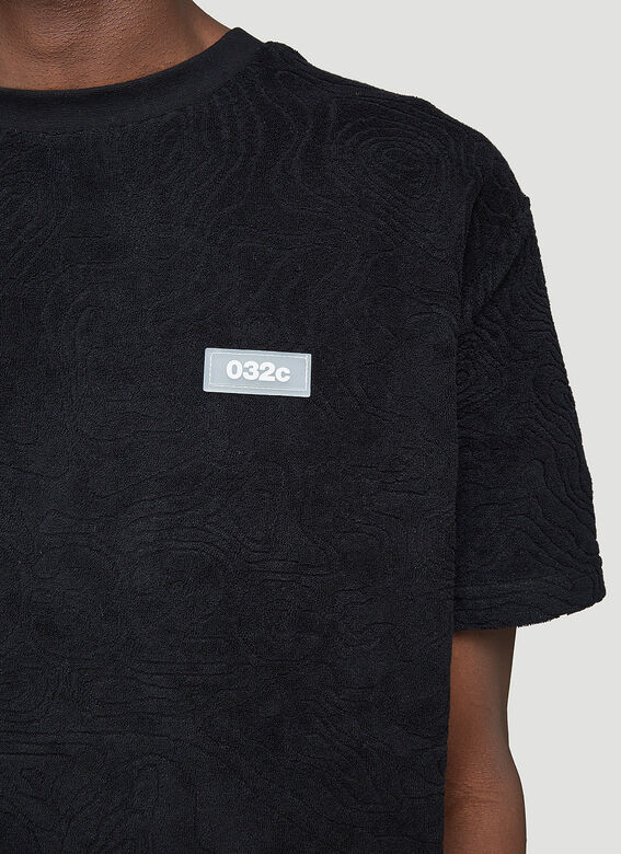 """032C """"Topos"""" Shaved Terry T-Shirt Black 100% CO 5"""