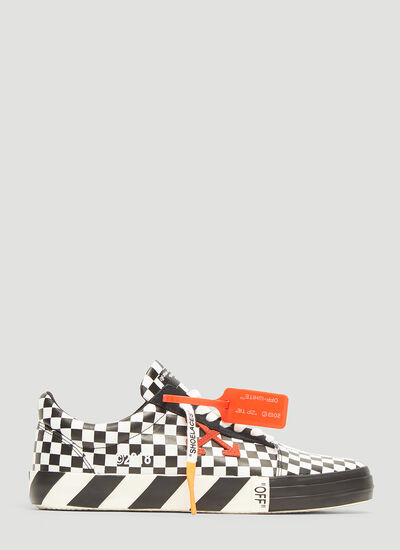 Off-White Checked Upper Striped Sole Tennis Sneakers