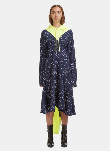 Vetements Hooded Contrast Emoji Print Dress