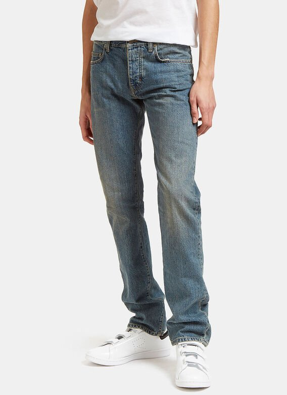 2878a5f645f Saint Laurent Men's Straight Fit 5 Pocket Jeans from SS15 in Blue