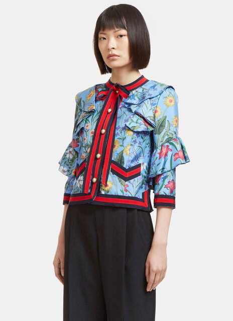 New Flora Ruffled Silk Jacket