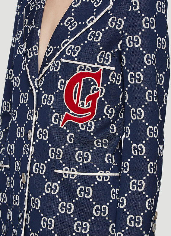 b00c8e887d9c5 Gucci GG Jersey Jacket in Blue