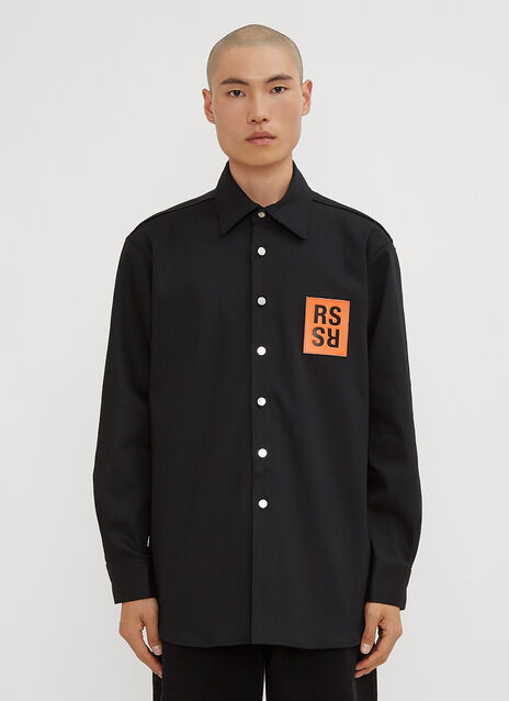 Raf Simons Oversized Logo Patch Denim Shirt