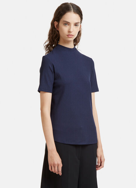 Mock Neck Rib Knit T-Shirt