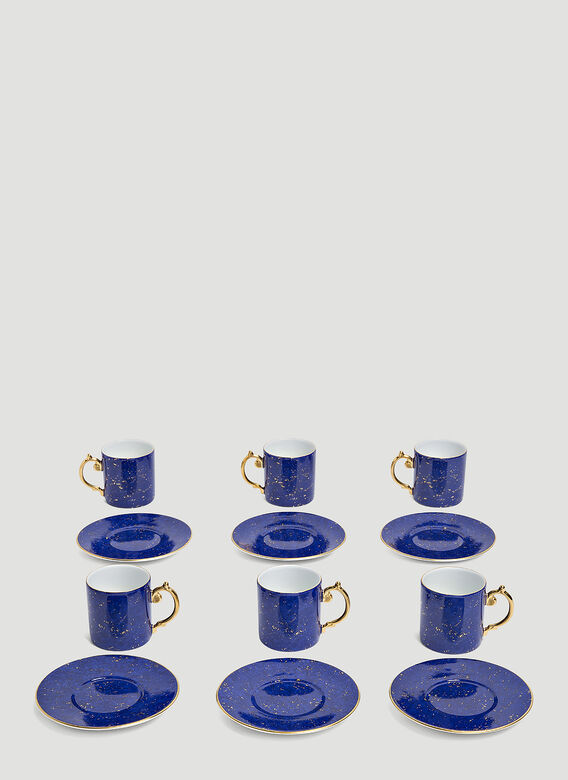 L'Objet Set-of-Six Lapis Espresso Cup and Saucers 1