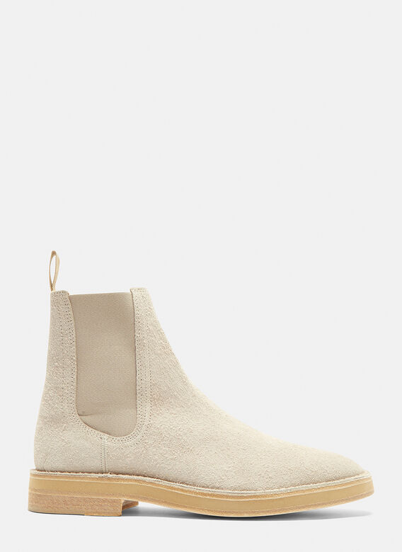bf773a52b Yeezy Shaggy Suede Chelsea Boots in Light Grey