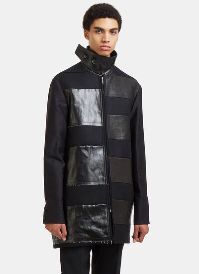 Rick Owens Jumbo Brother Leather Patch Coat