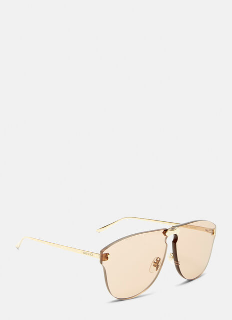 Gucci Square Frameless Gold Arm Sunglasses