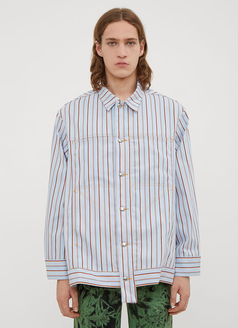 Eckhaus Latta Striped Denim Jacket Shirt