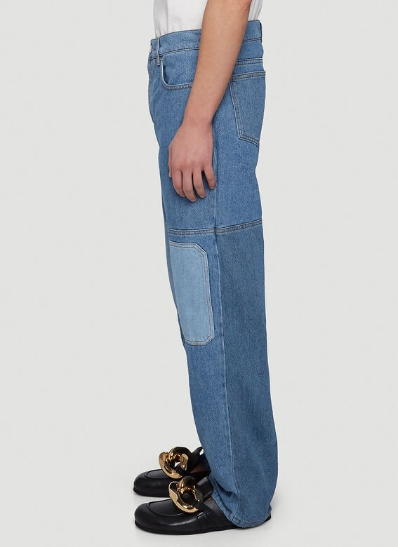 JW ANDERSON Denims Patchwork Straight-Leg Jeans in Blue