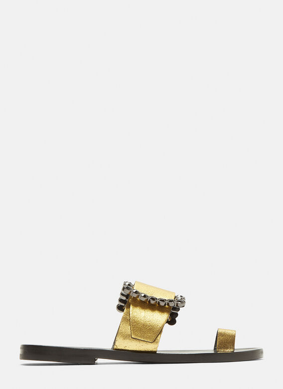 382815c5f2a50 Maison Margiela Jewelled Buckle Sandals in Gold | LN-CC