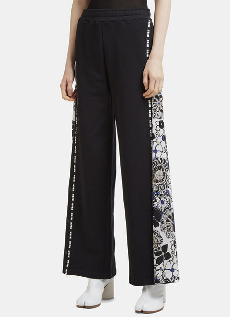 MSGM Logo Panel Flower Insert Track Pants