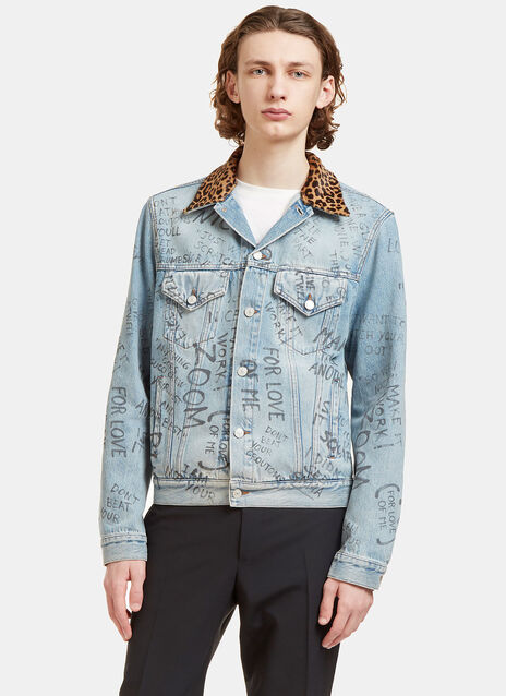 Scribbled Writing Print Leopard Collared Denim Jacket