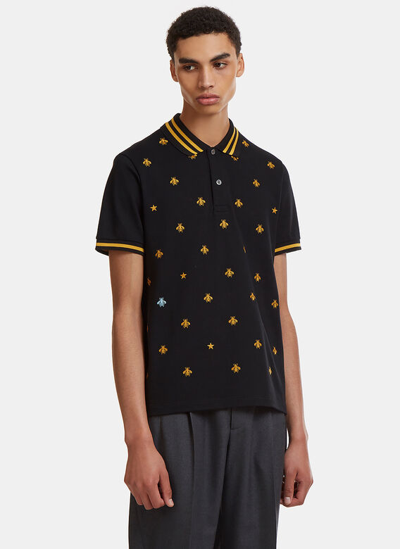 b845646dfb19 Gucci Embroidered Short Sleeve Bee Polo Shirt | LN-CC
