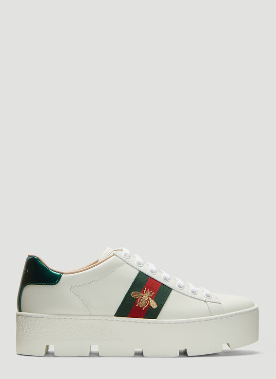 Gucci Ace Embroidered Leather Platform Sneakers 1