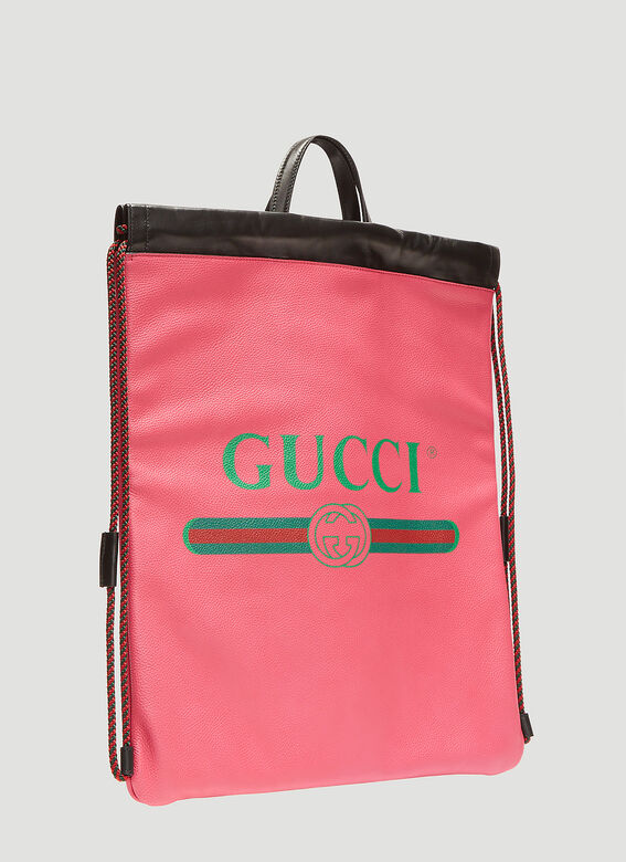 Gucci Logo Drawstring Leather Backpack
