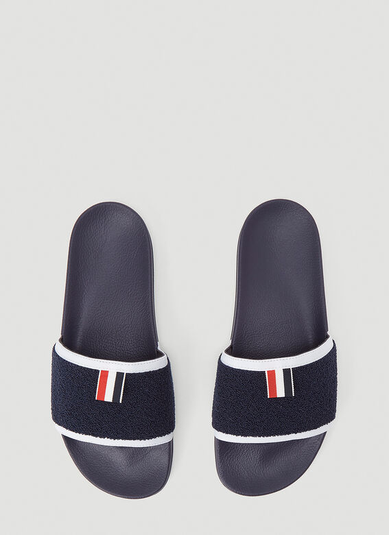 Thom Browne TERRY CLOTH POOL SLIDE IN RUBBER 2