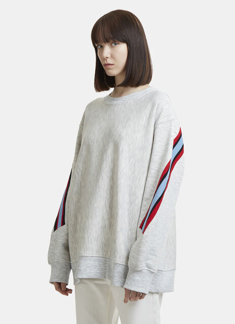 Facetasm Asymmetric Striped Knit Embroidered Sweater