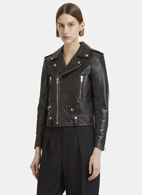 Saint Laurent Leather Crust Biker Jacket