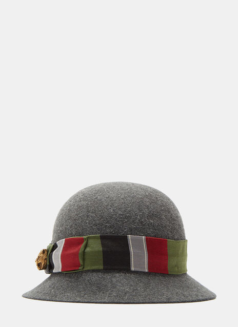 Gucci Tapestry Ribbon Felted Bowler Hat
