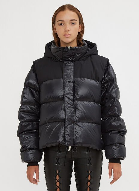 Unravel Project Shiny Down-Padded Chopped Hooded Jacket